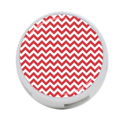Poppy Red & White Zigzag Pattern 4 Port Usb Hub (two Sides)