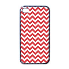 Poppy Red & White Zigzag Pattern Apple Iphone 4 Case (black)