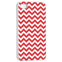 Poppy Red & White Zigzag Pattern Apple Iphone 4/4s Seamless Case (white)
