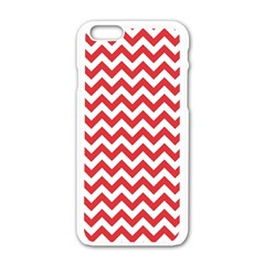 Poppy Red & White Zigzag Pattern Apple Iphone 6/6s White Enamel Case by Zandiepants