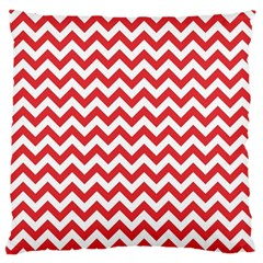 Poppy Red & White Zigzag Pattern Large Flano Cushion Case (one Side)