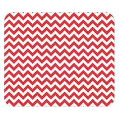 Poppy Red & White Zigzag Pattern Double Sided Flano Blanket (small) by Zandiepants