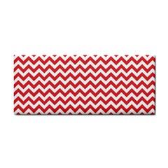 Poppy Red & White Zigzag Pattern Hand Towel by Zandiepants