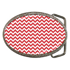 Poppy Red & White Zigzag Pattern Belt Buckle