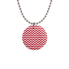 Poppy Red & White Zigzag Pattern 1  Button Necklace