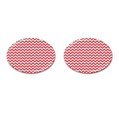 Poppy Red & White Zigzag Pattern Cufflinks (oval)