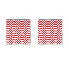 Poppy Red & White Zigzag Pattern Cufflinks (square)