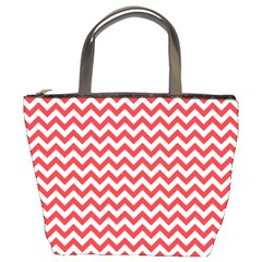 Poppy Red & White Zigzag Pattern Bucket Bag
