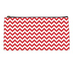 Poppy Red & White Zigzag Pattern Pencil Case