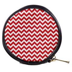 Poppy Red & White Zigzag Pattern Mini Makeup Bag