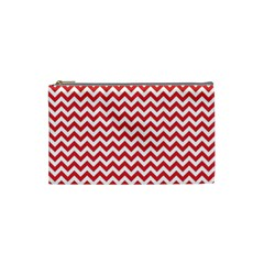Poppy Red & White Zigzag Pattern Cosmetic Bag (small)