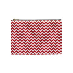 Poppy Red & White Zigzag Pattern Cosmetic Bag (medium)