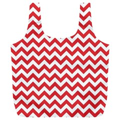 Poppy Red & White Zigzag Pattern Full Print Recycle Bag (xl)