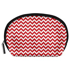 Poppy Red & White Zigzag Pattern Accessory Pouch (large)