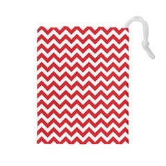 Poppy Red & White Zigzag Pattern Drawstring Pouch (large)