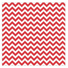 Poppy Red & White Zigzag Pattern Large Satin Scarf (square)