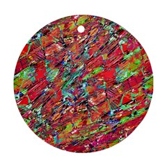 Expressive Abstract Grunge Round Ornament (two Sides)  by dflcprints