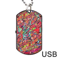 Expressive Abstract Grunge Dog Tag Usb Flash (two Sides)  by dflcprints