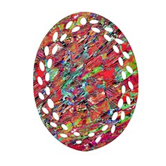 Expressive Abstract Grunge Oval Filigree Ornament (2 Side)  by dflcprints