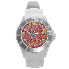 Expressive Abstract Grunge Round Plastic Sport Watch (l) by dflcprints