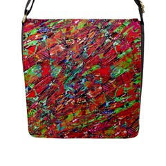Expressive Abstract Grunge Flap Messenger Bag (l)  by dflcprints