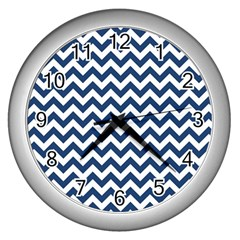 Navy Blue & White Zigzag Pattern Wall Clock (silver) by Zandiepants