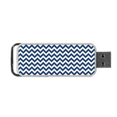 Navy Blue & White Zigzag Pattern Portable Usb Flash (one Side) by Zandiepants