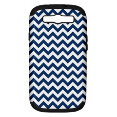 Navy Blue & White Zigzag Pattern Samsung Galaxy S Iii Hardshell Case (pc+silicone) by Zandiepants