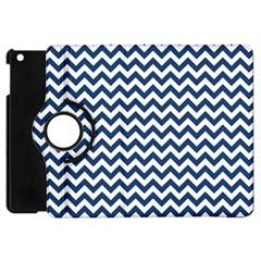 Navy Blue & White Zigzag Pattern Apple Ipad Mini Flip 360 Case