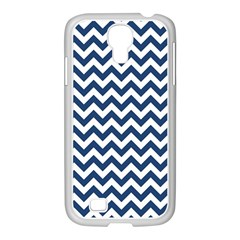 Navy Blue & White Zigzag Pattern Samsung Galaxy S4 I9500/ I9505 Case (white) by Zandiepants