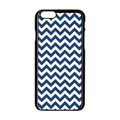 Navy Blue & White Zigzag Pattern Apple Iphone 6/6s Black Enamel Case by Zandiepants