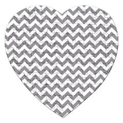 Medium Grey & White Zigzag Pattern Jigsaw Puzzle (heart) by Zandiepants