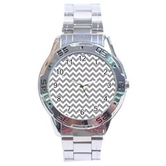 Medium Grey & White Zigzag Pattern Stainless Steel Analogue Watch by Zandiepants