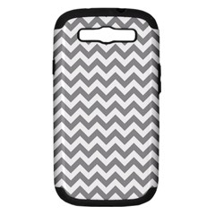 Medium Grey & White Zigzag Pattern Samsung Galaxy S Iii Hardshell Case (pc+silicone) by Zandiepants