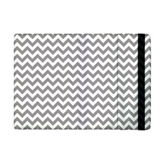 Medium Grey & White Zigzag Pattern Apple iPad Mini 2 Flip Case by Zandiepants