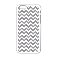 Medium Grey & White Zigzag Pattern Apple Iphone 6/6s White Enamel Case by Zandiepants