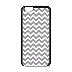Medium Grey & White Zigzag Pattern Apple Iphone 6/6s Black Enamel Case by Zandiepants