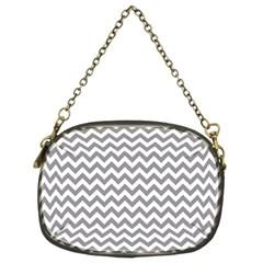 Medium Grey & White Zigzag Pattern Chain Purse (two Sides) by Zandiepants