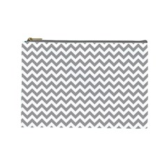 Medium Grey & White Zigzag Pattern Cosmetic Bag (large) by Zandiepants