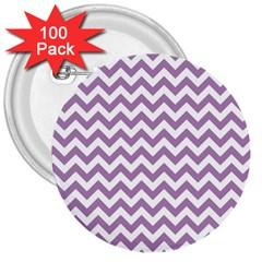 Lilac Purple & White Zigzag Pattern 3  Button (100 Pack) by Zandiepants