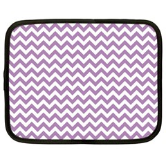 Lilac Purple & White Zigzag Pattern Netbook Case (large)
