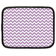 Lilac Purple & White Zigzag Pattern Netbook Case (xxl) by Zandiepants