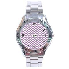 Lilac Purple & White Zigzag Pattern Stainless Steel Analogue Watch by Zandiepants