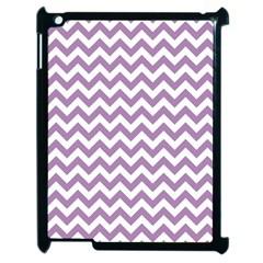 Lilac Purple & White Zigzag Pattern Apple Ipad 2 Case (black) by Zandiepants