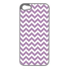 Lilac Purple & White Zigzag Pattern Apple Iphone 5 Case (silver) by Zandiepants