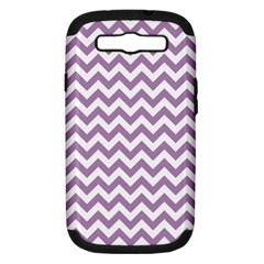 Lilac Purple & White Zigzag Pattern Samsung Galaxy S Iii Hardshell Case (pc+silicone) by Zandiepants