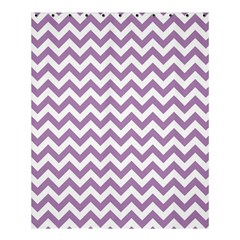 Lilac Purple & White Zigzag Pattern Shower Curtain 60  X 72  (medium) by Zandiepants
