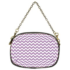 Lilac Purple & White Zigzag Pattern Chain Purse (two Sides) by Zandiepants