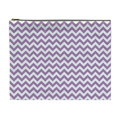 Lilac Purple & White Zigzag Pattern Cosmetic Bag (xl) by Zandiepants