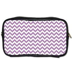 Lilac Purple & White Zigzag Pattern Toiletries Bag (two Sides) by Zandiepants